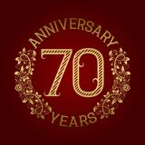 Golden emblem of seventieth anniversary. Celebration patterned sign on red.  Vector Illustration