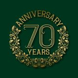 Golden emblem of seventieth years anniversary. Celebration patterned logotype. With shadow on green vector illustration