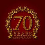 Golden emblem of seventieth years anniversary. Celebration patterned logotype with shadow on red.  vector illustration
