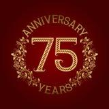 Golden emblem of seventy fifth anniversary. Celebration patterned sign on red.  Royalty Free Illustration