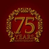 Golden emblem of seventy fifth years anniversary. Celebration patterned logotype with shadow on red.  Royalty Free Stock Photography