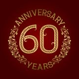 Golden emblem of sixtieth anniversary. Celebration patterned sign on red.  Royalty Free Illustration