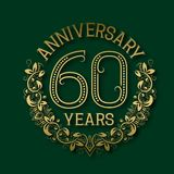 Golden emblem of sixtieth years anniversary. Celebration patterned logotype. With shadow on green royalty free illustration