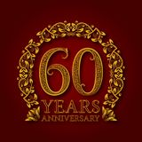Golden emblem of sixtieth years anniversary. Celebration patterned logotype with shadow on red.  royalty free illustration