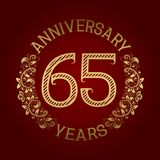 Golden emblem of sixty fifth anniversary. Celebration patterned sign on red.  Stock Illustration