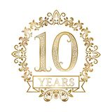 Golden emblem of tenth years anniversary in vintage style vector illustration