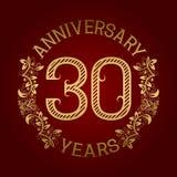 Golden emblem of thirtieth anniversary. Celebration patterned sign on red.  Vector Illustration