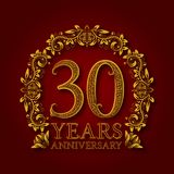 Golden emblem of thirtieth years anniversary. Celebration patterned logotype with shadow on red.  vector illustration