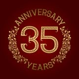 Golden emblem of thirty fifth anniversary. Celebration patterned sign on red.  Vector Illustration