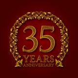 Golden emblem of thirty fifth years anniversary. Celebration patterned logotype with shadow on red.  Royalty Free Stock Images