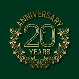 Golden emblem of twentieth years anniversary. Celebration patterned logotype. With shadow on green royalty free illustration