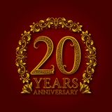 Golden emblem of twentieth years anniversary. Celebration patterned logotype with shadow on red.  royalty free illustration