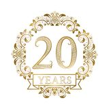 Golden emblem of twentieth years anniversary in vintage style royalty free illustration