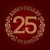 Golden emblem of twenty fifth anniversary. Celebration patterned sign on red.  Stock Illustration