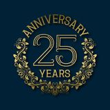 Golden emblem of twenty fifth years anniversary. Celebration patterned logotype. With shadow on blue royalty free illustration