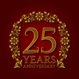 Golden emblem of twenty fifth years anniversary. Celebration patterned logotype with shadow on red.  Royalty Free Stock Image