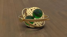 Golden and emerald trinket, 3d rendering stock illustration
