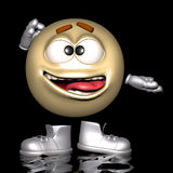 Golden emoticon. An emoticon in his wacky pose and expression Royalty Free Stock Images