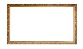 Golden empty frame isolated on white background. Copy space stock photos