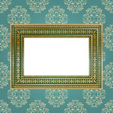 Golden empty frame on the wall for your art.. Stock Photography