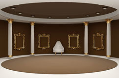 Golden empty frames in museum interior space Royalty Free Stock Photography