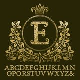 Golden encrusted letters and initial monogram in coat of arms form with crown. Royal font and elements kit for logo. Design Royalty Free Stock Photo