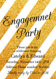 Golden Engagement Party invitation design template Stock Image