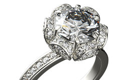 Golden Engagement  Ring with Diamond Royalty Free Stock Photography