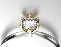 Golden Engagement  Ring with Diamond Stock Photos