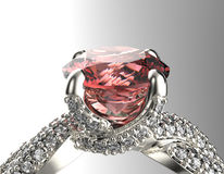 Golden Engagement  Ring with Diamond Stock Images