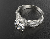 Golden Engagement  Ring with Diamond Royalty Free Stock Images