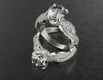 Golden Engagement  Ring with Diamond Royalty Free Stock Image