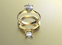 Golden Engagement Ring with Diamond Stock Image