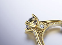 Golden Engagement Ring with Diamond Stock Photography