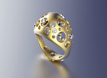 Golden Engagement Ring with Diamond Royalty Free Stock Photos