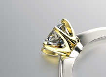 Golden Engagement Ring with Diamond or moissanite. Jewelry backg Royalty Free Stock Photography