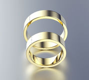 Golden Engagement Ring with Diamond or moissanite. Jewelry backg Stock Photography