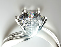 Golden Engagement Ring with Diamond or moissanite. Jewelry backg Stock Photos