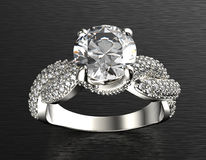 Golden Engagement Ring with Diamond or moissanite. Jewelry backg Royalty Free Stock Images