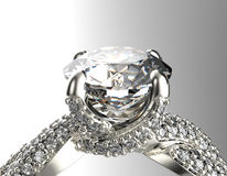 Golden Engagement Ring with Diamond or moissanite. Jewelry backg Royalty Free Stock Image