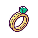 Golden engagement ring with emerald. Vector icon. Golden engagement ring with big emerald isolated on white background. Fashionable jewelry accessory with Royalty Free Stock Photo