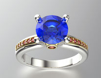 Golden Engagement Ring with Sapphire Stock Photo