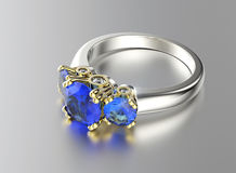 Golden Engagement Ring with sapphire Stock Photography