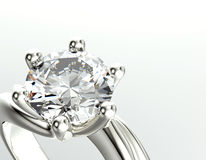 Golden Engagement Ring With Diamond Or Moissanite. Jewelry Background Stock Photo