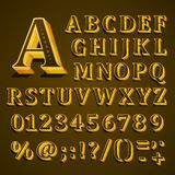 Golden English alphabet on khaki background. Vector illustration Stock Photography