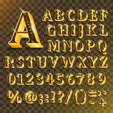Golden English alphabet on transparent background. Vector illustration Stock Images