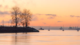 Golden English bay after sunset Stock Photo