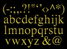 Golden engraved alphabet lettering set Stock Image