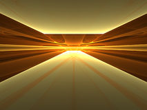 Golden Enlightenment - 3D fractal landscape Stock Photo