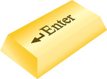 Golden enter button Royalty Free Stock Photos